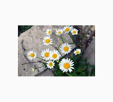Beautiful small white flowers on the pavement. Unisex T-Shirt
