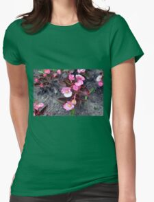 Beautiful fragile pink flowers on the ground. Womens Fitted T-Shirt