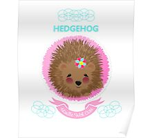 Cute Whimsy Woodland Animal Baby Hedgehog Design Poster