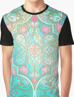 Floral Moroccan in Spring Pastels - Aqua, Pink, Mint & Peach Graphic T-Shirt