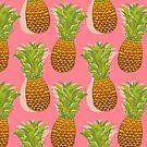 Pineapple Pop Art Pattern on Pink by Tangerine-Tane