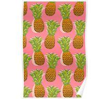 Pineapple Pop Art Pattern on Pink Poster