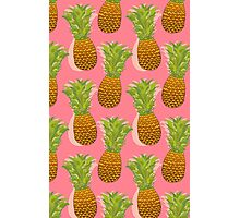 Pineapple Pop Art Pattern on Pink Photographic Print