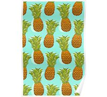 Pineapple Pop Art Pattern on Mint Poster