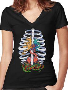 Monster guts Women's Fitted V-Neck T-Shirt