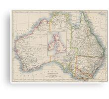 Australia and British Isles Size Comparison Map Canvas Print