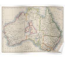 Australia and British Isles Size Comparison Map Poster