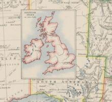 Australia and British Isles Size Comparison Map Sticker