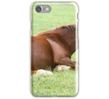Horses grazing in a green meadow  iPhone Case/Skin
