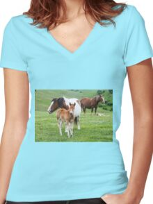 Horses grazing in a green meadow  Women's Fitted V-Neck T-Shirt