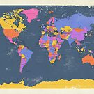 Retro Political Map of the World by Michael Tompsett
