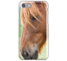 Close up portrait of a Horse grazing in a green meadow  iPhone Case/Skin