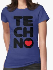 Techno Tower Music Quote Womens Fitted T-Shirt