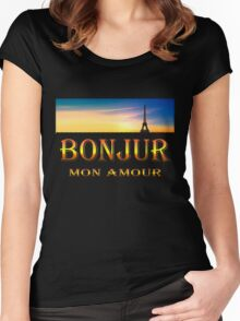 Bonjour mon amour...  Art + Products Design ,apparel Women's Fitted Scoop T-Shirt