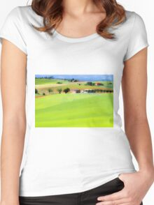 Rolling green hills with trees Photographed in Tuscany, Italy Women's Fitted Scoop T-Shirt