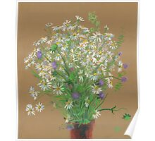 Meadow flowers, floral painting Poster