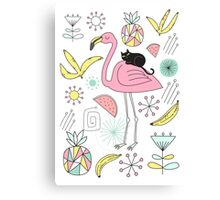 Flamingo and Black Cat Canvas Print