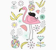 Flamingo and Black Cat Unisex T-Shirt