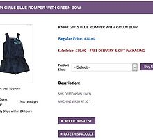 KARPI GIRLS BLUE ROMPER WITH GREEN BOW by masielbebe