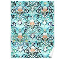 Ocean Aqua Art Nouveau Pattern with Peach Flowers Poster