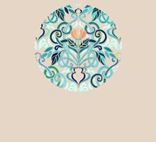 Ocean Aqua Art Nouveau Pattern with Peach Flowers Womens Fitted T-Shirt