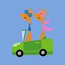 Giraffes and Car Throw Pillows, Tote Bag Blue by Vitta