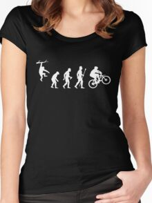 Funny Mountain Biking Evolution Women's Fitted Scoop T-Shirt