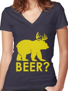 BEER? BEAR? Women's Fitted V-Neck T-Shirt