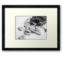 black and white runes runestones Framed Print