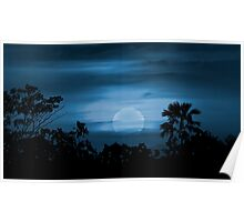 Moonscape Silhouette Ilustration Print Poster