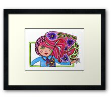 Drawing girl coloured Framed Print