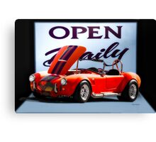 1965 Shelby Cobra 'Open Daily' Roadster Canvas Print