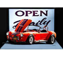 1965 Shelby Cobra 'Open Daily' Roadster Photographic Print