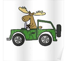 Cool Funky Moose Driving Camouflaged Vehicle Poster