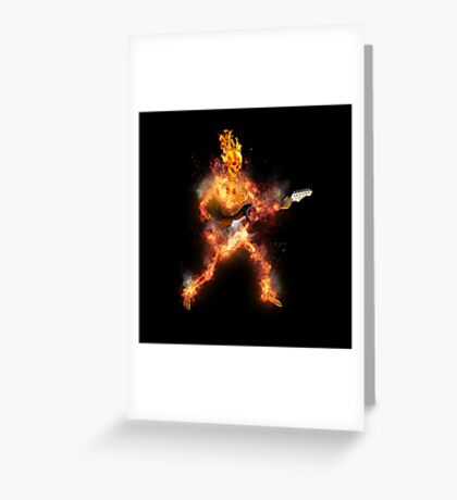 Fire Skeleton Guitarist Greeting Card