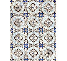 Portuguese tiles. Kaleidoscopic blue and brown pattern Photographic Print