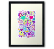 Psychedelic Hippy Retro Peace Art Framed Print