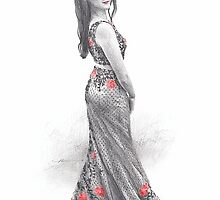 woman in red-flower dress drawing by Mike Theuer