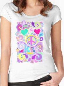 Psychedelic Hippy Retro Peace Art Women's Fitted Scoop T-Shirt