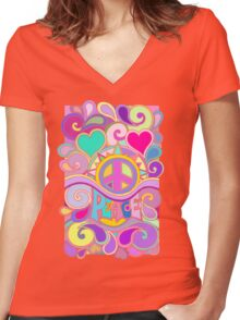 Psychedelic Hippy Retro Peace Art Women's Fitted V-Neck T-Shirt