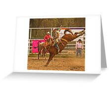 Rodeo A Wild Horse Kicks Its Back Legs High in the Air Greeting Card