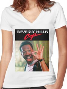 Beverly Hills Cop - Axel Foley A-OK  Women's Fitted V-Neck T-Shirt