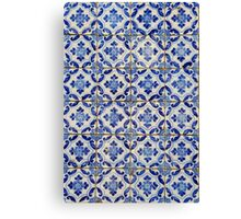 Portuguese tiles. Blue flowers and leaves Canvas Print