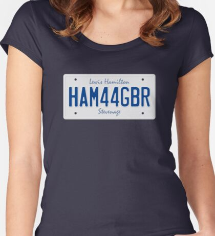 F1 Driver Vanity License Plate - Lewis Hamilton HAM 44 GBR Women's Fitted Scoop T-Shirt