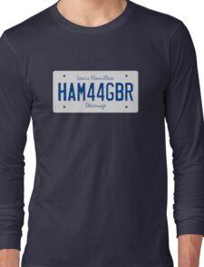 F1 Driver Vanity License Plate - Lewis Hamilton HAM 44 GBR Long Sleeve T-Shirt