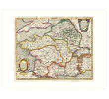 Vintage Map of France (1657) Art Print