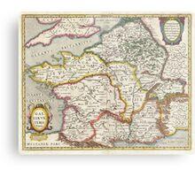 Vintage Map of France (1657) Metal Print