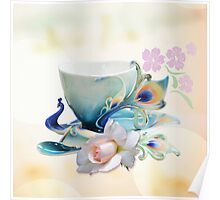 Romantic still life with Peacock teacup, Rose and cherry fowers Poster