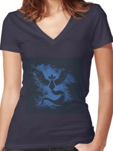 pokemon go : team mystic Women's Fitted V-Neck T-Shirt