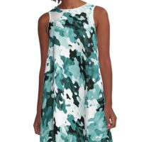 """""""The Real Teal"""" Layered Pattern A-Line Dress"""